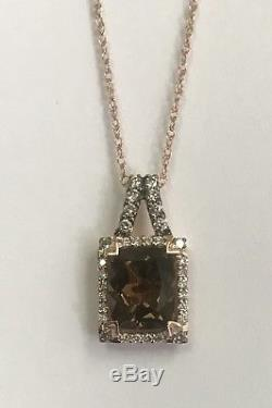 Estate LeVian Chocolate Quartz And Diamond Pendant In 14k Rose Gold With 18 Chain