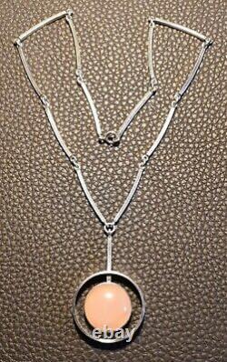 Exceptional Modernist Danish NE From Silver & Pink Rose Quartz Pendant