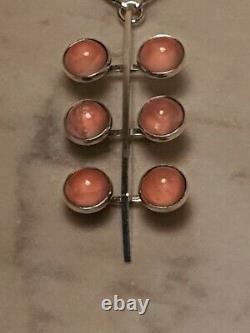 Exquisite Chic Modernist Danish Niels Erik From Silver Rose Quartz Pendant