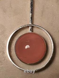 Exquisite Modernist Danish NE From Silver Pink Rose Quartz Pendant