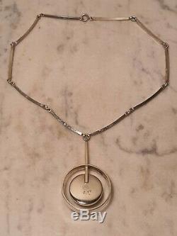 Exquisite Modernist Danish Niels Erik From Silver & Rose Quartz Pendant