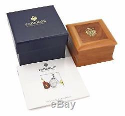 Faberge Platinum & Diamond Pink Quartz Heart & Bow Pendant withBox Ret $4750