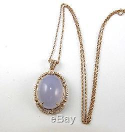 Fine Huge Oval Pink Rose Quartz & Diamond Necklace Pendant 14K Rose Gold 30.40Ct