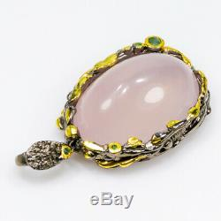 Fineart Jewelry 30ct Natural Rose Quartz 925 Sterling Silver Pendant/NP00811