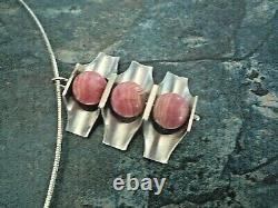 Finnish Modernist Silver Rose Quartz Pendant 1972 Kultaseppa Salovaara Finland