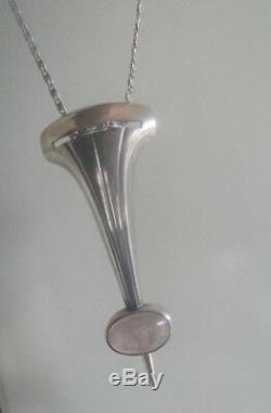 Finnish Modernist Stg. Silver & Rose Quartz Pendant Kupittaan Kulta Finland 1958