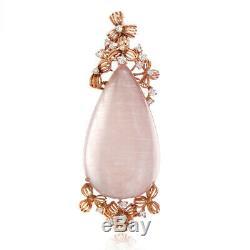 French Collection 18K Rose Gold Diamond & Quartz Enhancer Pendant PD8-15181RQZ