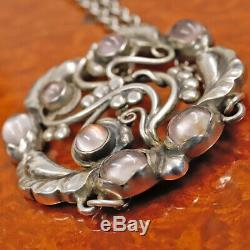 GEORG JENSEN Moonlight Blossom Rose Quartz Pendant Silver 925 Necklace