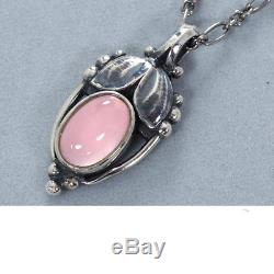 GEORG JENSEN Necklace 2003 Heritage Rose Quartz SV925 Ladies FS Auth Mint #3093