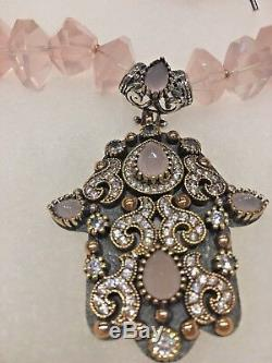 GORGEOUS! Necklace withRose Quartz Crystals, Stunning Pendant Custom Designed
