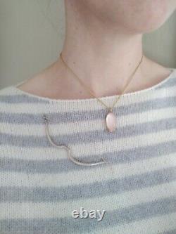 Gabriella Kiss 18k Rose Quartz, Scallop Setting, Pendant Necklace