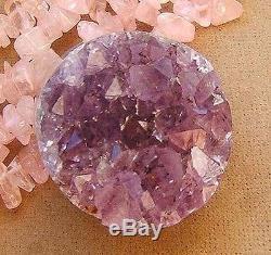 Genuine Amethyst Geode Druzy Large Pendant Natural Rose Pink Quartz Necklace Big