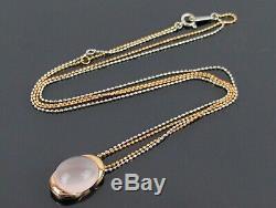 Genuine Rose Quartz Pentant K18 Yellow Gold & White Gold Chain Necklace
