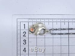 Georg Jensen Chain Necklace Pendant 1999 Rose Quartz Silver 925 20160184100 G