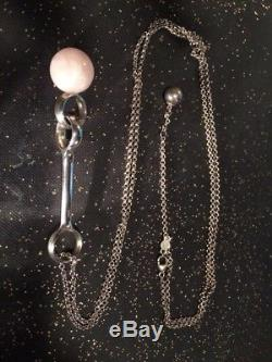 Georg Jensen Large Rose Quartz Sphere Necklace Pendant 80cm