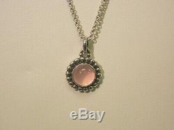 Georg Jensen Moonlight Blossom Necklace 9A Rose Quartz Chalcedon