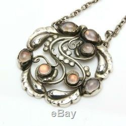 Georg Jensen Necklace Pendant #159 Moon Stone Rose Quartz Sterling Silver #12770
