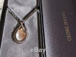Georg Jensen Rose Quartz Necklace Pendant 1995 2017 925 S Silver #12531
