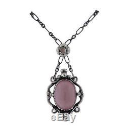 Georg Jensen Rose Quartz Sterling Silver Pendant Necklace