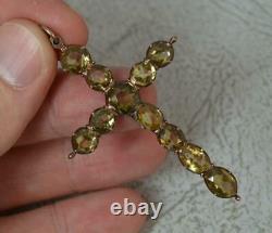 Georgian 9ct Rose Gold Citrine Quartz Cross Pendant c1800 p2120
