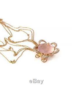 Giovanni Ferraris 18k Rose Gold Diamond and Quartz Pendant Necklace CL1515BR/54