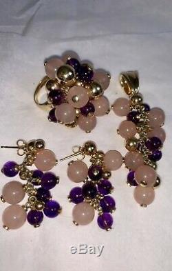 Gold Amethyst Quartz Cluster Ring Pendant Earrings ITALY 55+grams