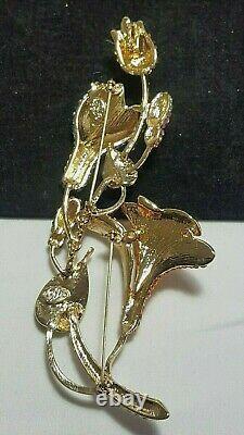 Gold Kirks Folly Big 6 Double Pin Flower Rose Crystal Brooch Pin & Pendant
