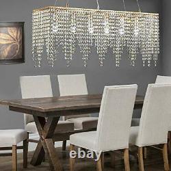 Gold Rectangle Island Crystal Chandelier Pendant Lighting Ceiling Modern light