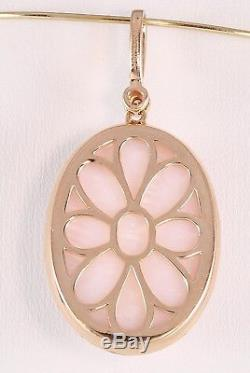 Gorgeous 14K Rose Gold Sabrina Signed Diamond Halo Pink Quartz Pendant