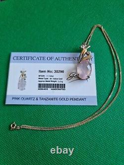 Gorgeous 9ct Gold Chain With Rose Quartz & Tanzanite Pendant Gems TV (G59)