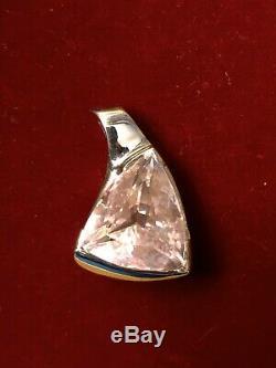 Gorgeous Approx 40ct Trillion Cut Rose Quartz Pendant set in 16g 14k White Gold