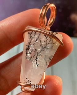 Gorgeous Rare Dendritic Powder Blue Rose Quartz Crystal Pendant Brq Madagascar