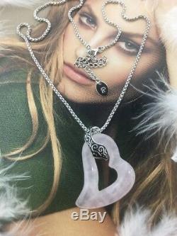 Guess 925 Sterling Silver Real Rose Quartz Gem Pendant Chain Necklace 16