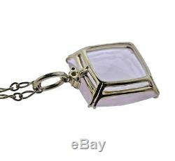 H. Stern Cobblestone Rose Quartz Diamond 18k Gold Pendant Necklace