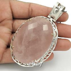 HANDMADE 925 Silver Jewellery Natural ROSE QUARTZ Gemstone Vintage Pendant JK6