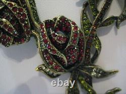 HEIDI DAUS Climbing Rose (Jet-Bl.) Beaded Roses & Vines Necklace(Orig. $249.95)