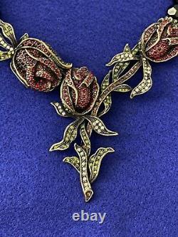 HEIDI DAUS Climbing Rose Jet-Black Beaded Floral Necklace