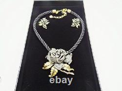 HEIDI DAUS Elegant Rose Elegance Pin/Pendant & Silk Cord Necklace & Earrings