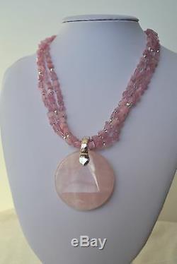 Hand Carved Pink Rose Quartz Gemstone Round Pendant 3 Stranded Necklace