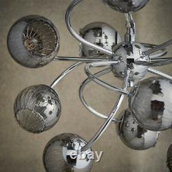 Hanging Ceiling Pendant Light CHROME & GLASS 12 Light Lamp Bulb Holder Fitting