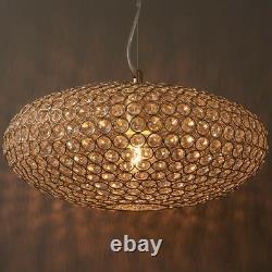 Hanging Ceiling Pendant Light CRYSTAL GLASS BRASSLamp Shade Bulb Holder & Rose