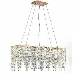 Hanging Rose Gold Rectangle Island Crystal Chandelier Pendant Lighting Ceiling