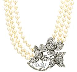 Heidi Daus Bloom in Love 3-Strand Pearl Necklace and Crystal Rose Pendant NWT