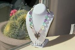 Heidi Daus Rose Quartz, Fluorite, Crystal Pendant Necklace