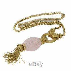 Henry Dunay Pink Quartz Pendant 20 inch Necklace in 18k Yellow Gold