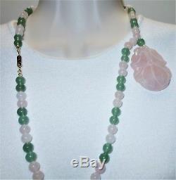 Hobe Rare Couturier Collection Rose Quartz & Aventurine Pendant Bead Necklace