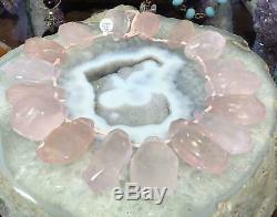Huge Madagascar Rose quartz pendant gemstone strand #1