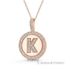 Initial Letter K & Halo CZ Crystal Pave 14k Rose Gold 19x13mm Necklace Pendant