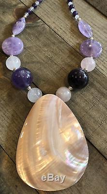 JAY KING Tampico Shell, Amethyst & Rose Quartz Necklace Pendant, Sterling Silver