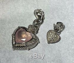 JUDITH RIKPA Sterling Silver Rose Quartz Heart Enhancer and 18 Necklace